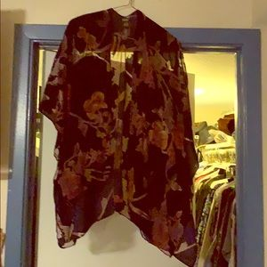 Kimono, sheer w/ rich velvet floral in fall colors